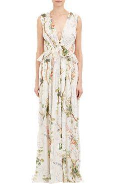 Floral Chiffon Deep-V Gown