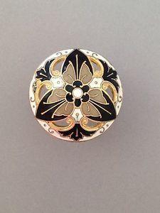 Antique Pierced Dome Shaped French Enamel Button Black White Tan Gold | eBay