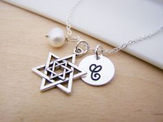 Star of David Hanukkah Charm Swarovski Birthstone Initial Personalized Sterling Silver Necklace / Gift for Her