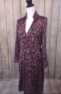 DVF Diane von Furstenberg Womans Vintage Purple & Pink 100% Silk Dress Size 14  | eBay