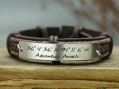 Create your own one-of-a-kind coordinates cuff bracelet for teens, men or women, feature the coordinates and the quote  Adventure Awaits in two