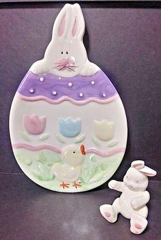 "Palm Tree Co. Easter Rabbit Bunny Plate W/Bonus Bunny - Ceramic - 10"" x 6 1/2"""