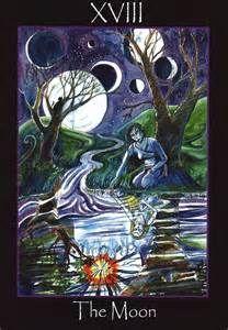 Tarot of the Sidhe ► The Moon Tarot Celta, Tarot Cards Major Arcana, Tarot Significado, The Moon Tarot Card, Fortune Telling Cards, Divination Cards, Online Tarot, Tarot Card Meanings, Oracle Cards