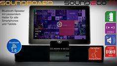 SOUND2GO SOUNDBOARD – Bluetooth 3.0 Stereo Lautsprecher mit Freisprecheinrichtung  Der leistungsfähige SOUNDBOARD Stereo-Lautsprecher überträgt Musik kabellos mit Bluetooth-Technologie von Smartphones und Tablets. Es ist der ideale Begleiter für Reisen und Urlaub, denn durch die geneigte Halterung ist es perfekt zum Anschauen von Filmen. Aber auch Musikhören ist über das SOUNDBOARD ein Genuss.    - inkl. Freisprecheinrichtung - 2-Kanal Stereotechnik - edles Aluminium-Design