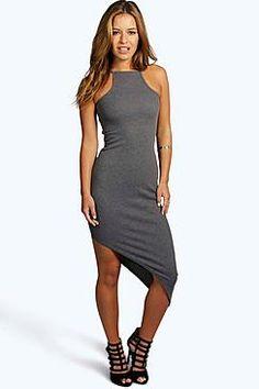 Petite Lara Rib Asymmetric Bodycon Dress