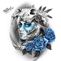 mulher skull, caveira, india, rosa, azul #Art #Sketch #Drawing #Illustration #DigitalArt #Ink #Tattoo #TattooArt #blackandgrey #Sullen #Girl