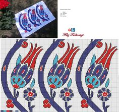 Designed and stitched by Filiz Türkocağı. ( İznik chini, S tulip ) Cross Stitching, Cross Stitch Embroidery, Cross Stitch Patterns, Cross Stitch Pillow, Freeform Crochet, Bargello, Loom Beading, Blackwork, Needlepoint