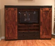 White wood entertainment center build barn door stand decoration white sliding entertainment center kitchen astonishing with doors white solid wood Barn Door Cabinet, Barn Door Tv Stand, Cabinet Hardware, Tv Cabinets With Doors, Media Cabinets, Wood Cabinets, Cubes, Farmhouse Tv Stand, White Farmhouse