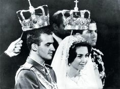 Queen Sofia and former King Juan Carlos tying the knot in May of 1962.