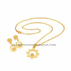 juego de collar y pendientes oro dorado de acero venta online por mayor SSNEG47989