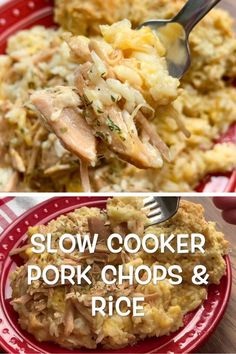 Slow Cooker Pork Chops and Rice Slow Cooker Pork Chops and Rice,Pork Recipes Slow cooker pork chops and rice is a delicious, hearty, and filling dinner for the entire family. The smothered pork chops. Slow Cooker Huhn, Crock Pot Slow Cooker, Slow Cooker Recipes, Slow Cooker Hamburger Recipes, Slow Cooker Dinners, Slow Cooking, Country Cooking, Crockpot Dishes, Simple Crockpot Chicken Recipes