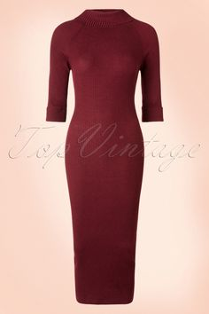 This50s Olive Knitted Pencil Dress gives you a stunning feminine, curvy silhouette!Who ever thought, goody-goody can be so sexy?! This fine knitted dress features a playful turtleneck, 3/4 sleeves with fold overs and embraces your curves for a super feminine look. Made from a slightly thinner, burgundy red ribbed acrylic blend with a lovely stretch for a comfy fit. She has no zippers or buttons, making this fitted beauty very easy to put on ;-) Olive loves to show your curves, ...