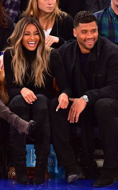 Ciara & Russell Wilson from The Big Picture: Today's Hot Pics The cute couple shares some laughs at the New York Knicks vs. Washington Wizards basketball game in NYC.