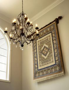 Pretty tapestry wall hangings in Entry Traditional with Foyer Light Fixture next…