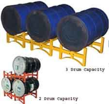 Oil Drum Rack Sales & AccessoriesWhile 55 gallon drums remain probably the most effective liquid storage medium available thanks to their combination of size and convenience, it is essential that a robust and scalable storage solution for the drums is put into place.  By using a set of 55 gallon barrel racks, you will find that drums can be stacked on top of each other quickly and safely, and that they can also be accessed easily when they are needed.