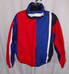 Vtg Nautica XL Colorblock Jacket Red White Blue USA Sailing Hooded 90's Hip Hop