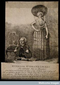 Wybrant Lolkes, a dwarf with his wife. Etching by P. Mequign