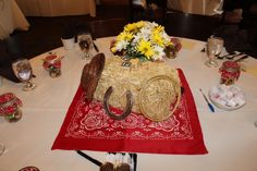 Cowboy western table decorations centerpieces party wedding