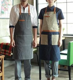 Premium Gift for woman and man Chef Works Handmade Apron Japanese Cross Back… Clothes Words, Diy Clothes, Cafe Apron, Work Aprons, Leather Apron, Apron Designs, Sewing Aprons, Canvas Leather, Gifts For Women