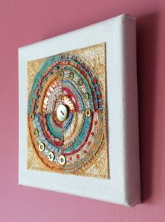 Now in the shop - embroidered and embellished textile art on canvas