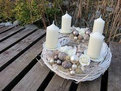 """adventní svícen """"BÍLÁ KÁVA"""" Table Decorations, Christmas, Home Decor, Crowns, Advent, Xmas, Decoration Home, Room Decor, Weihnachten"""