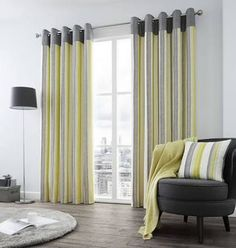 Buy Fusion Rydell Stripe Eyelet Curtains - - Lime at Argos. Lime Green Curtains, Cool House Designs, Soft Furnishings, Your Space, Valance Curtains, Building A House, Flooring, Interior Design, Bed
