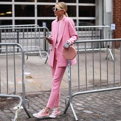 "604 Likes, 13 Comments - Blair Eadie / Atlantic-Pacific (@blaireadiebee) on Instagram: ""<powering up in a pink power suit  // staying fully charged all fashion week thanks to my new BFF…"""