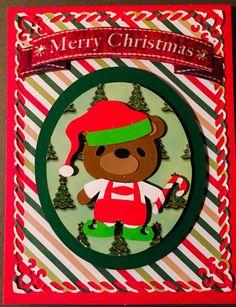 Christmas card  using cricut cartridge teddy bears on parade