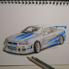 Paul Walker's Nissan gtr r34 from  movie The Fast and the Furious---