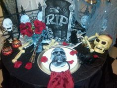 "Most of these items I found at the dollar tree. I like to use things in different ways. Example this skull door knocker I am  using as a ""Napkin Ring"". I am also using this item as a towel rack in my kitchen and bathroom for the Halloween Season. http://www.fearlessentertaining.com/"
