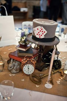Looking for a whimsy and kinda crazy wedding theme? Alice in Wonderland is a gre… Looking for a whimsy and kinda crazy wedding theme? Alice in Wonderland is a gre… – Mad Hatter Party, Mad Hatter Tea, Mad Hatter Wedding, Mad Hatters Afternoon Tea, Disney Centerpieces, Table Centerpieces, Elegant Centerpieces, Table Decorations, Centerpiece Ideas