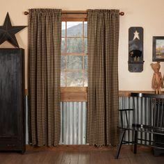 Black Check Panel Curtains