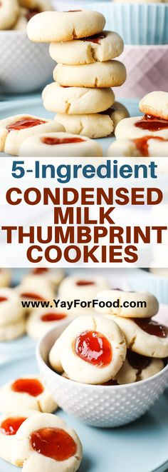 With only five ingredients, this simple recipe for thumbprint cookies combines the wonderful crumbly texture of shortbread with the sweetness of fruit jam. #cookies #dessert #condensedmilk #thumbprintcookies #easydesserts #holidaycookies #quickdesserts Thumbprint Cookies Recipe, Milk Cookies, Yummy Cookies, Holiday Cookie Recipes, Best Cookie Recipes, Sweet Recipes, Easy Desserts, Delicious Desserts, Dessert Recipes