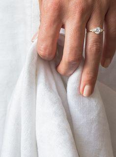 VOW: Vrai & Oro Wedding 3-Stone Diamond Ring 18k Yellow Gold Center Stone: 1ct