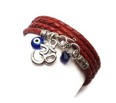 Leather  Wrap Bracelet with Om Charm and Evil Eye