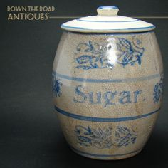 Sugar Crock and Lid with Blue Slip Trail - c.1870