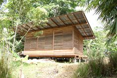 Bungalow Interiors, Bungalow House Design, Cabin Office, Bamboo House Design, Jungle House, Bamboo Garden, Garden Office, Tropical Houses, Blinds