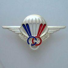 French Parachutist Moniteur Badge Silver Presentation Parawing