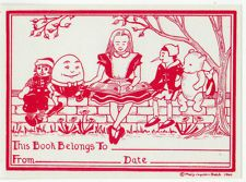 50 1960 Vintage bookplates artist Mary Hatch Humpty Dumpty Alice in Wonderland