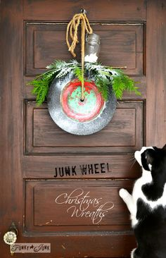Green and red chippy wheel / Junk wheel Christmas wreaths are quirky and FUN! Check out a few more via www.funkyjunkinte... #12days72ideas