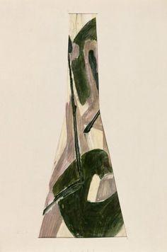 Bohumil Elias, design for glass vase, gaouche on paper, 52,0 x 26,0 cm, VSUP Prague, 1958 - 63