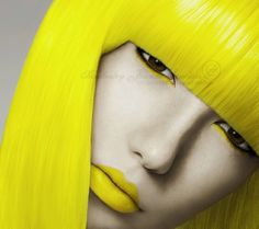 neon yellow, girl, fashion, yellow hair, hairstyle,face