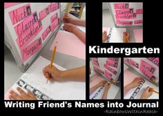 Students have a journal of their friends photos   and they must 'write-out' the friend's name!!  The center is set up for two children to work at.
