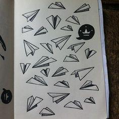 Daily sketch 155 - paper plane doodles #illustration #drawing #sketch #sharpie #markers #doodle #design #paperplane (Taken with Instagram)