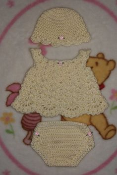 Baby Girl Crochet Dress Set  Hat Dress & by TJsCrochetCreations