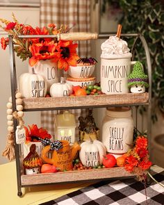 Such a cute tiered tray display with Rae Dunn for fall - - Halloween Kitchen, Halloween Home Decor, Fall Halloween, Cute Home Decor, Fall Home Decor, Autumn Home, Seasonal Decor, Holiday Decor, Tray Decor