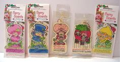 Set of 5 Air Fresheners Strawberry Shortcake vintage style 1998 2001 NEW MIP - SOLD - please see other items for sale