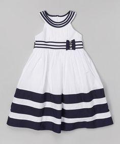 Look at this #zulilyfind! Navy & White Yoke Dress - Infant, Toddler & Girls #zulilyfinds