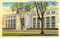 Dubuque Iowa IA 1937 Post Office Federal Court House Vintage Linen Postcard