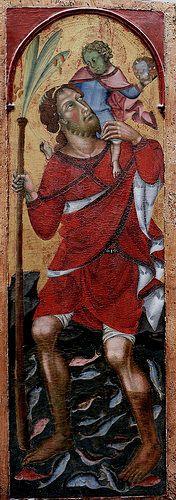Bartolo di Fredi - Pala della Trinità, dettaglio San Ceistoforo - 1397 - Musée des beaux-arts de Chambéry